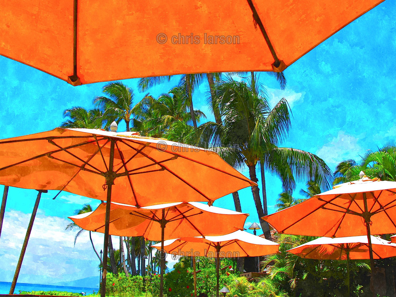 Orange Umbrellas by Chris Larson