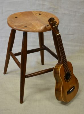 Ukulele Stool by Brian Kawal curly maple and walnut