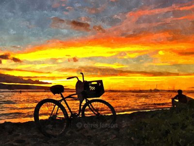 Sunset Cruiser by Chris Larson - bike with sunset background