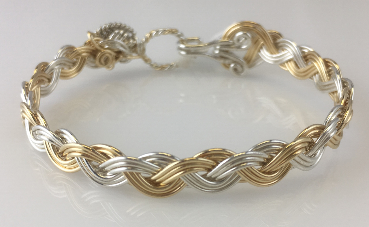 Wave Classic Weave Bracelet in Goldfill and Sterling Silver by Varsha Titus