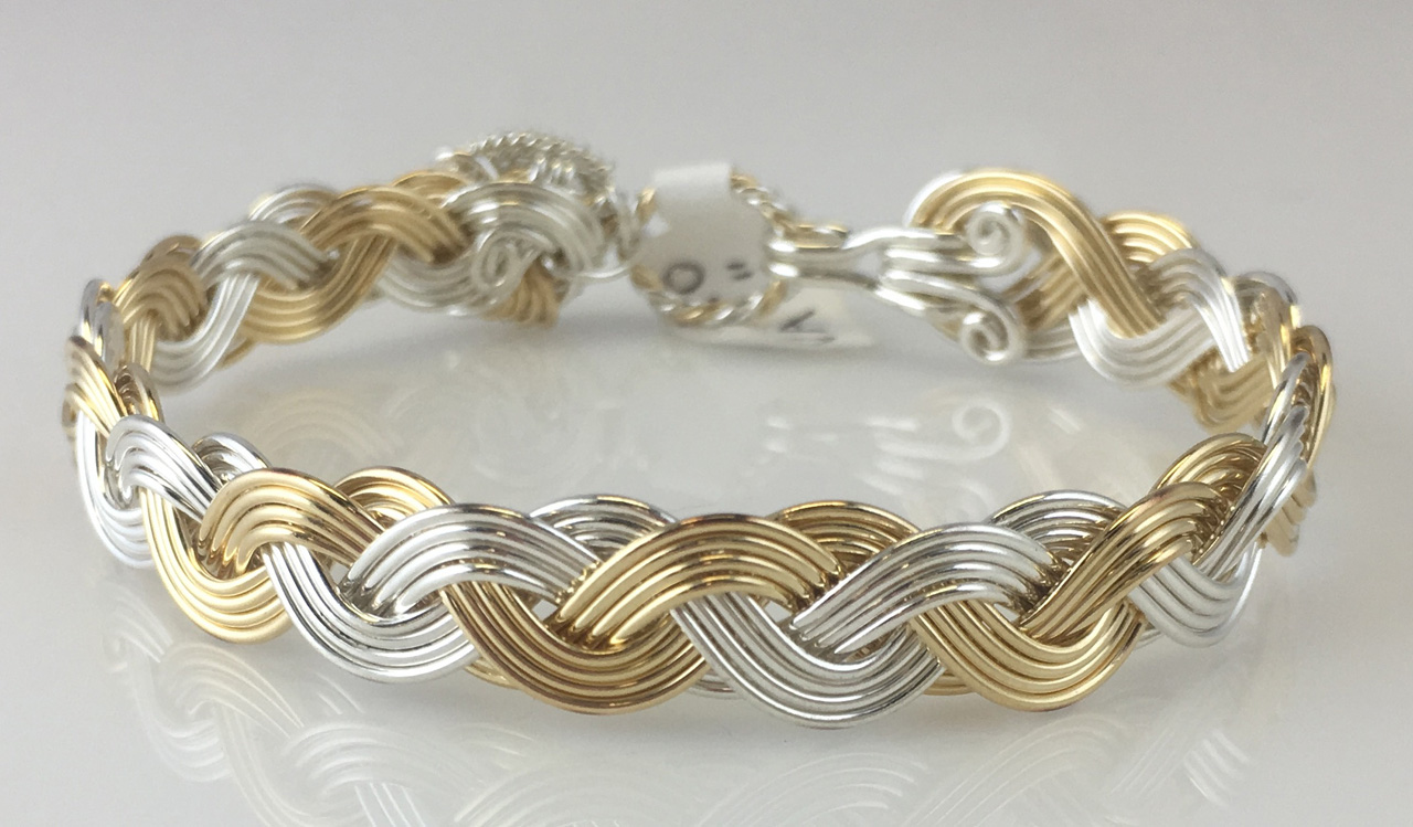 Wave Classic Weave Bracelet in gold fill and sterling silverby Varsha Titus