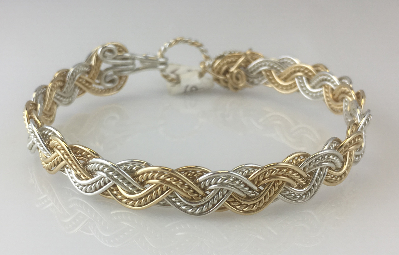 Wave Tapestry Weave Bracelet in gold fill and sterling silver by Varsha Titus