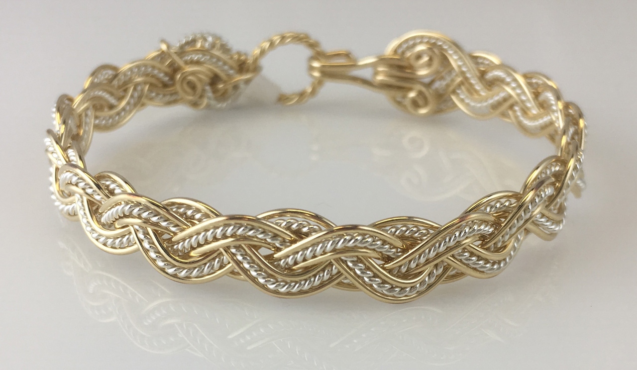 Wave Tapestry Weave Bracelet in gold fill and sterling sliverby Varsha Titus