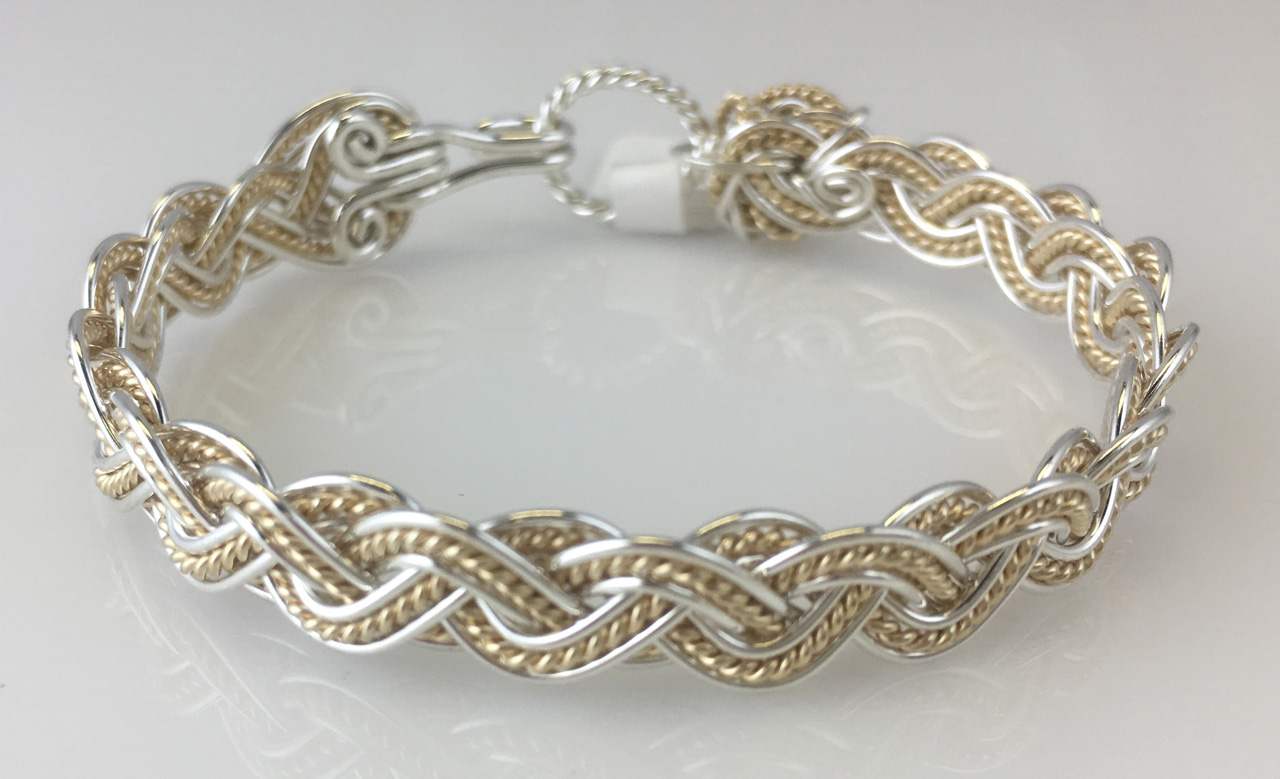 Wave Tapestry Weave Bracelet in sterling silver and gold by Varsha Titus