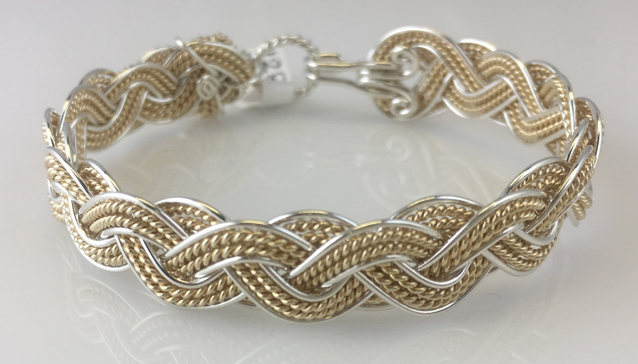 Wave Grande Lace Weave Bracelet in sterling silver and gold fill andby Varsha Titus