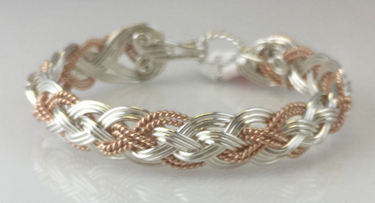 Halfround Rope Weave Bracelet in Sterling Silver and Rose Gold Fillby Varsha Titus