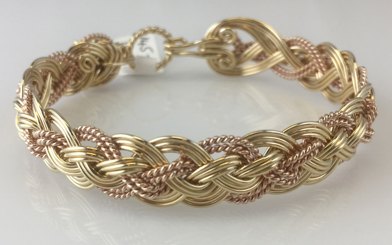 Halfround Rope Weave Bracelet in gold fill and rose gold fill by Varsha Titus
