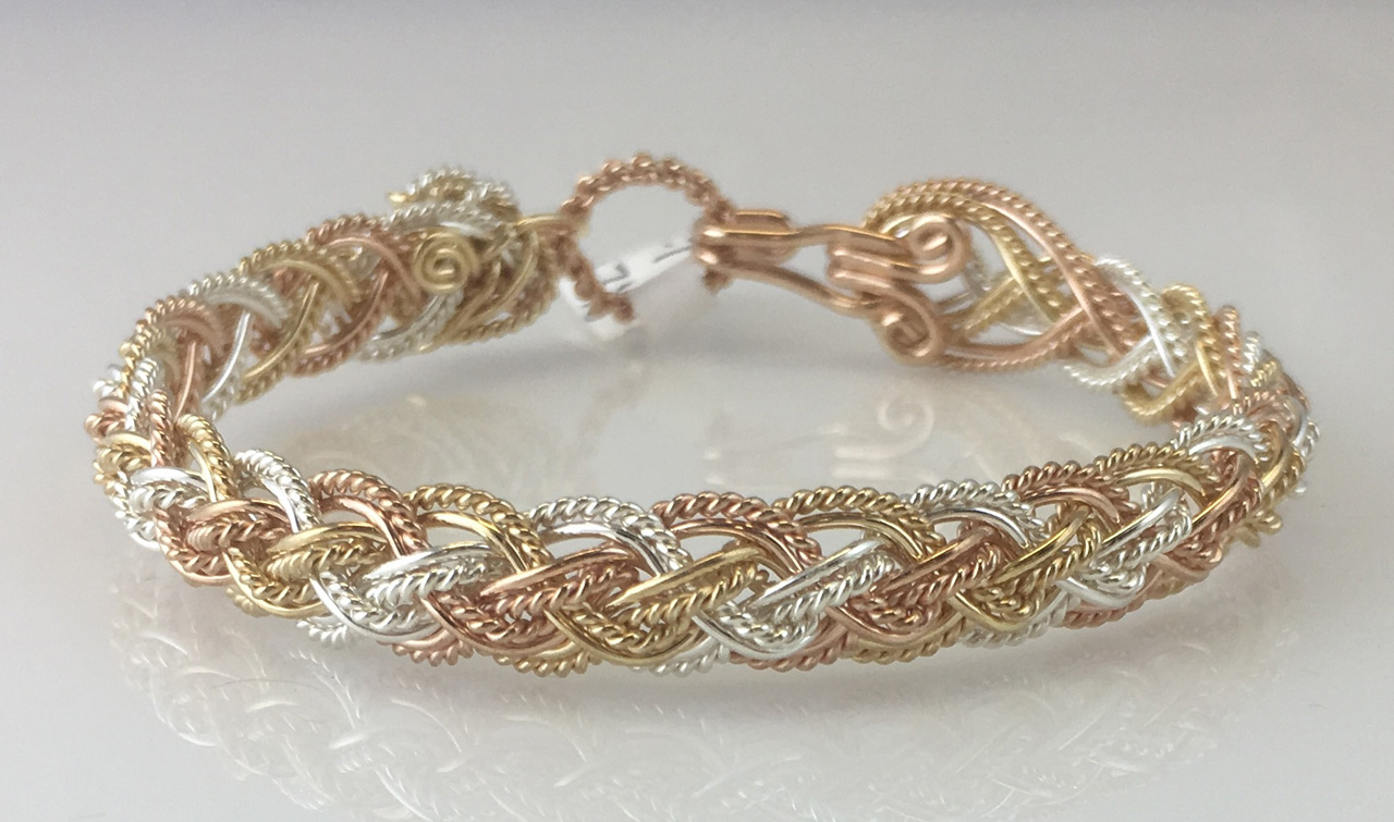 Tri Lace Weave Bracelet in sterling silver, gold fill, and rose gold fill by Varsha Titus
