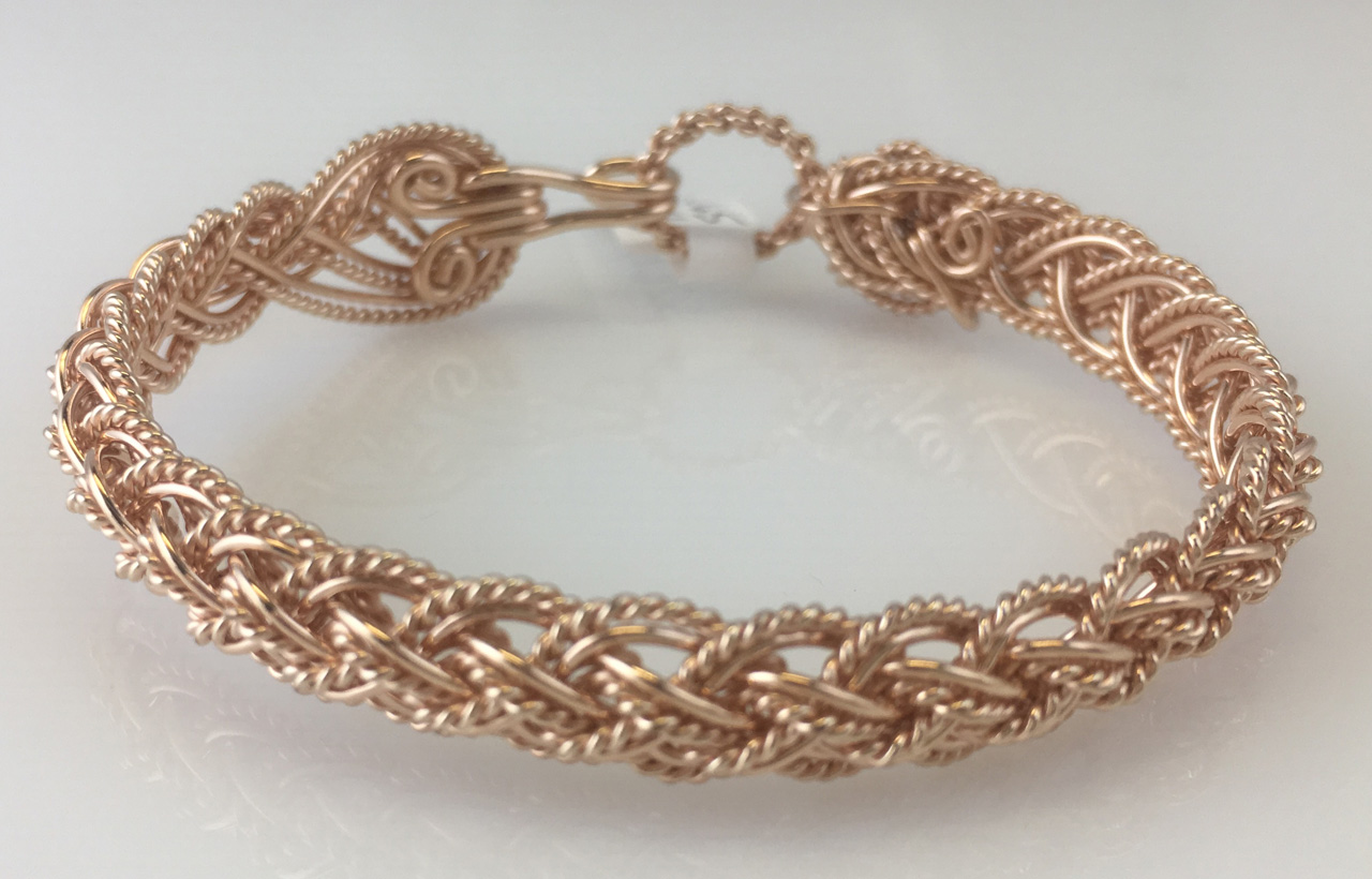 Tri Lace Weave Bracelet in rose gold fill by Varsha Titus