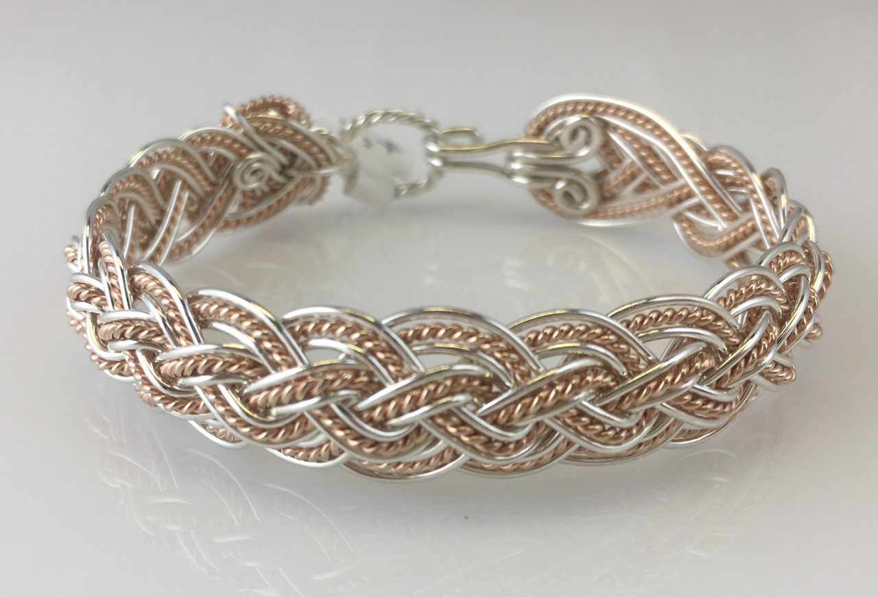 Halfround Tapestry Weave Bracelet in sterling silver and rose gold fillby Varsha Titus