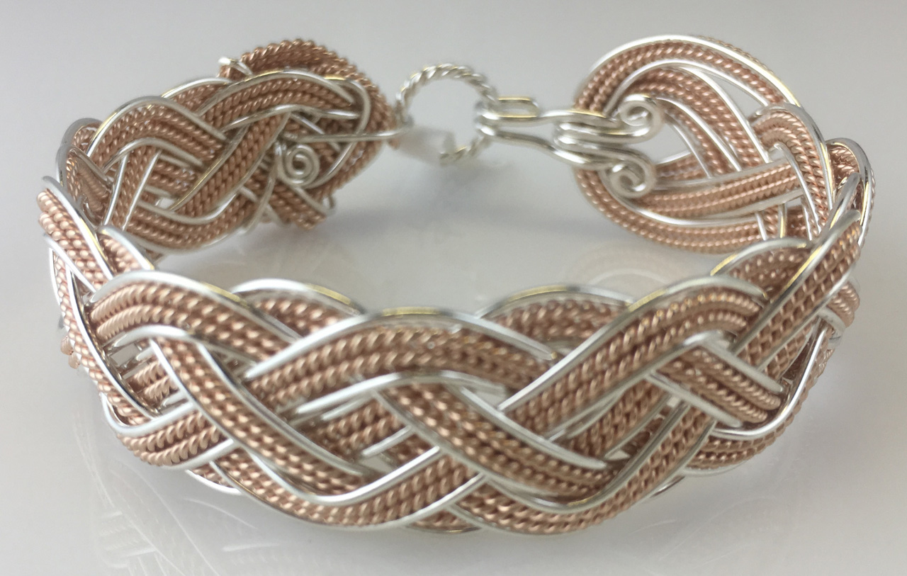 Celtic Grande Lace Weave Bracelet in sterling silver and rose gold fill by Varsha Titus