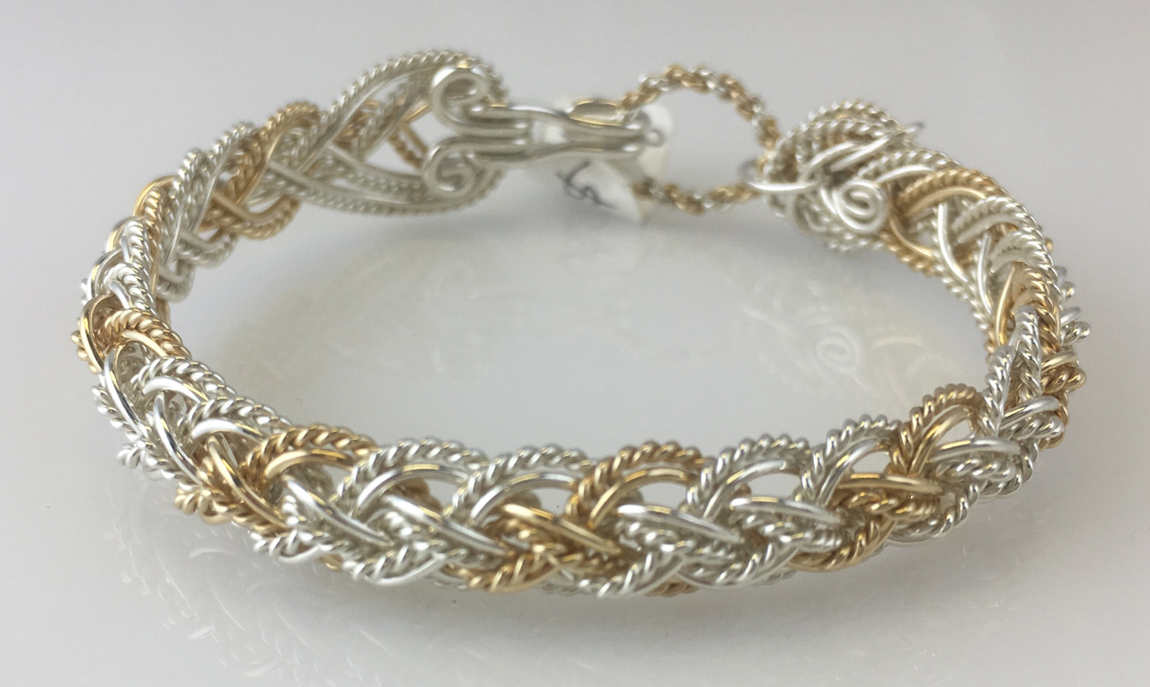 Lace Weave Bracelet in sterling silver and gold fillby Varsha Titus