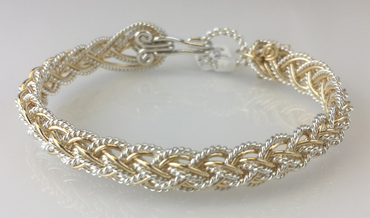Lace Weave Bracelet in gold fill and sterling silverby Varsha Titus