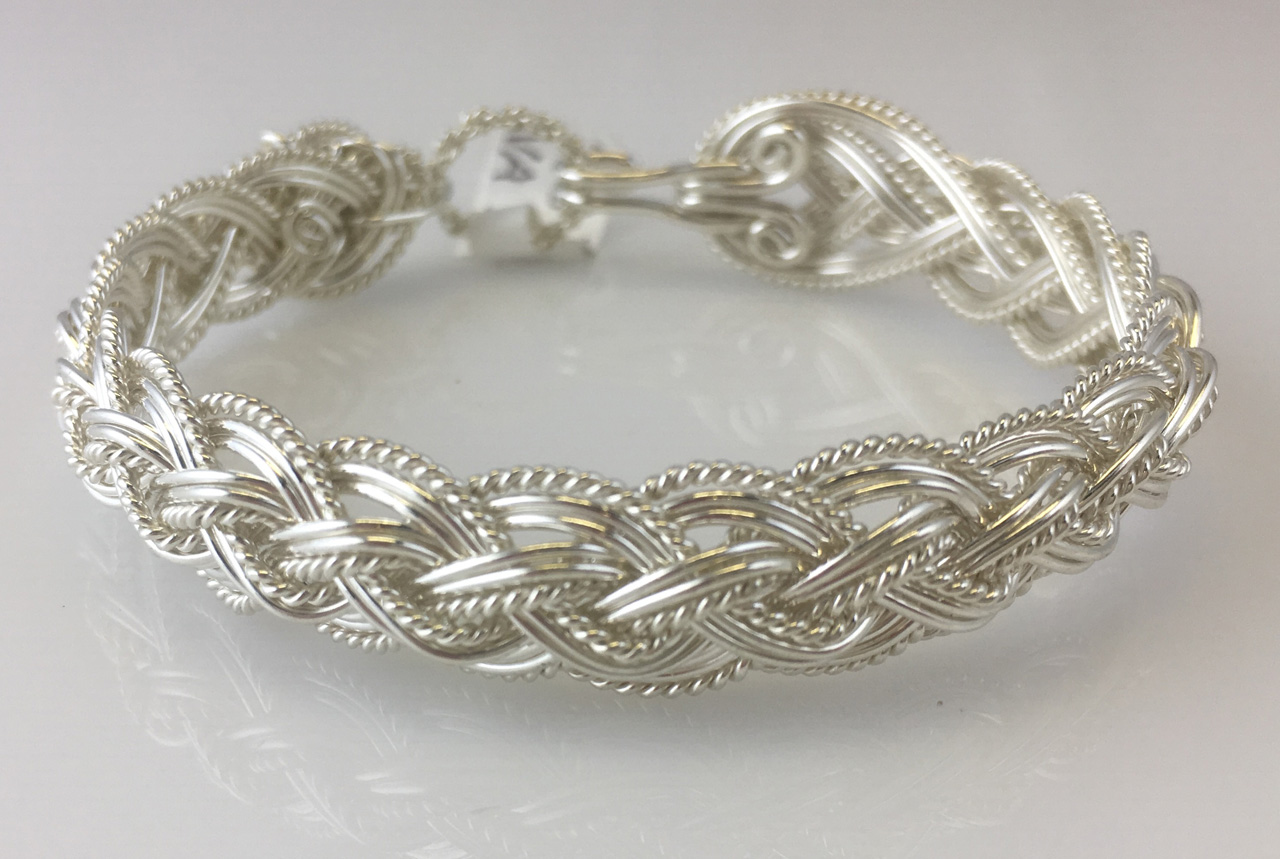 Halfround Lace Weave Bracelet in sterling silver by Varsha Titus