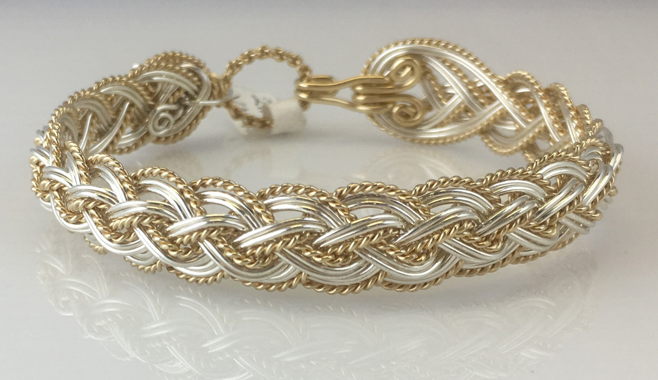 Halfround Lace Weave Bracelet in sterling silver and gold fill by Varsha Titus