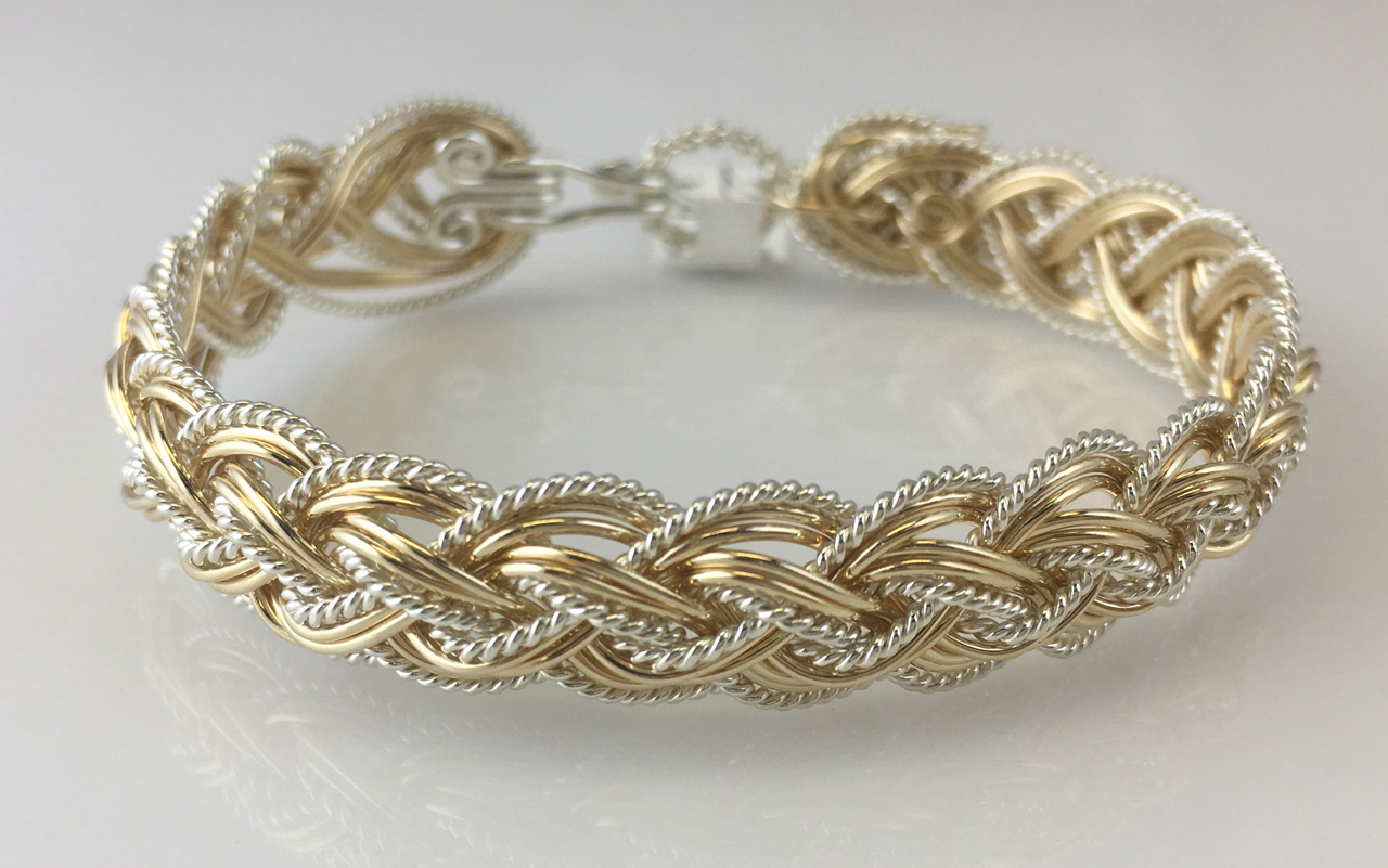 Halfround Lace Weave Bracelet in gold fill and sterling silverby Varsha Titus