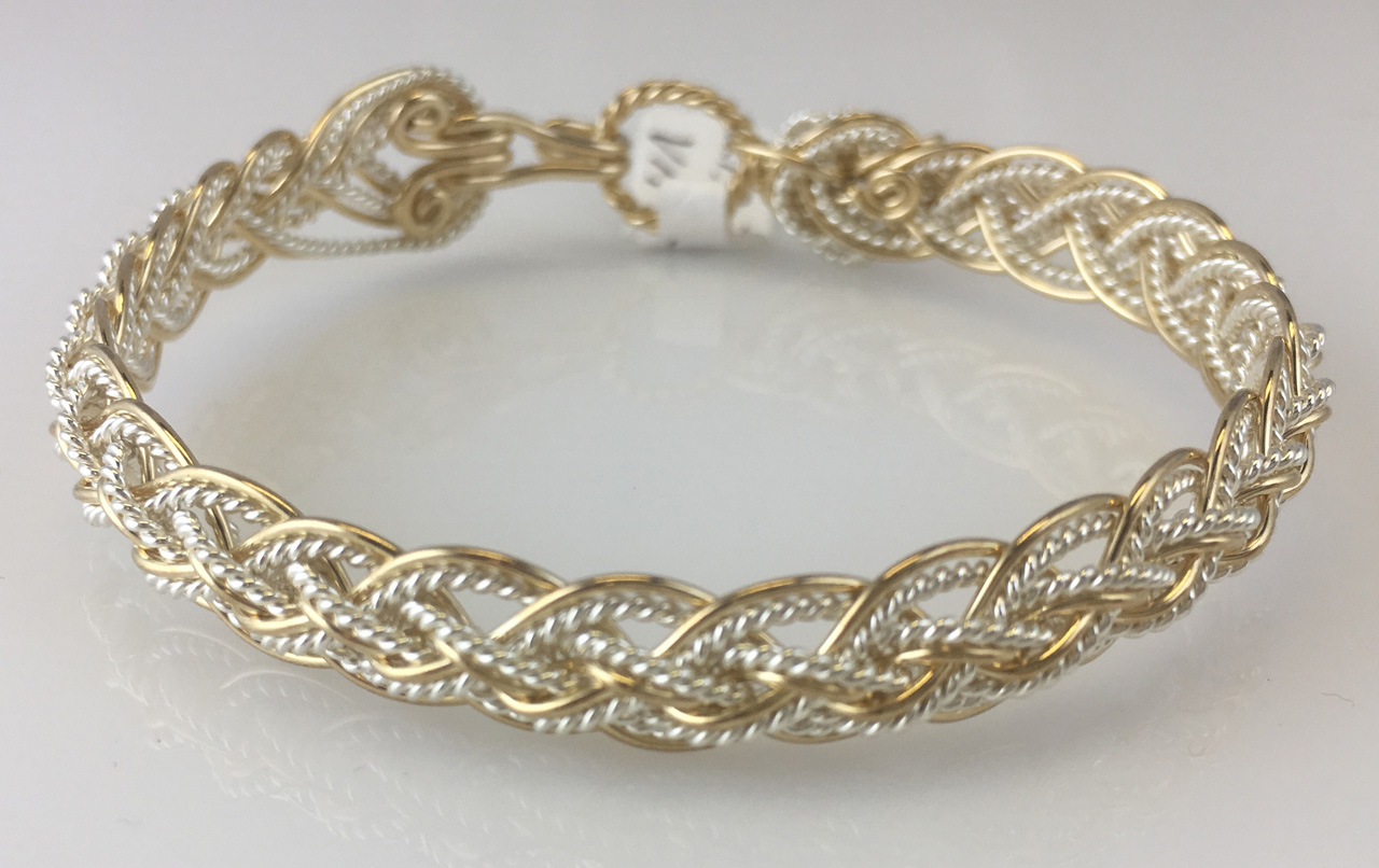 Hidden Lace Weave Bracelet in gold fill and sterling silverby Varsha Titus