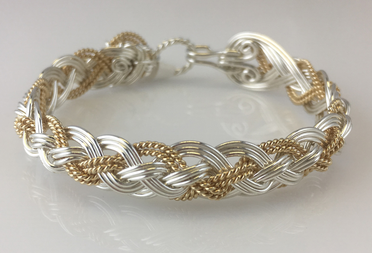 Halfround Rope Weave Bracelet in sterling silver and gold fillby Varsha Titus