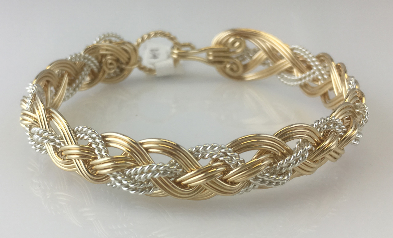 Halfround Rope Weave Bracelet in gold fill and sterling silverby Varsha Titus