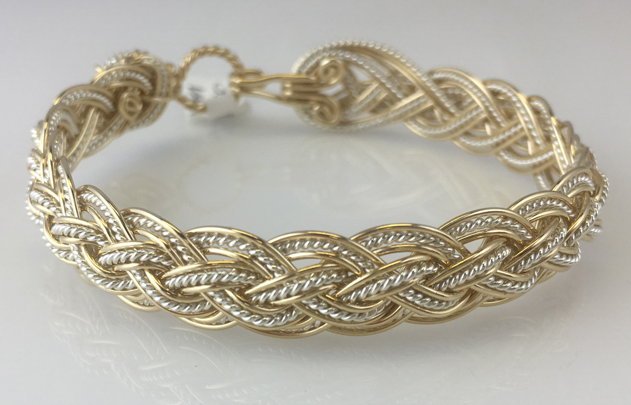 Halfround Tapestry Weave Bracelet in gold and sterling silverby Varsha Titus