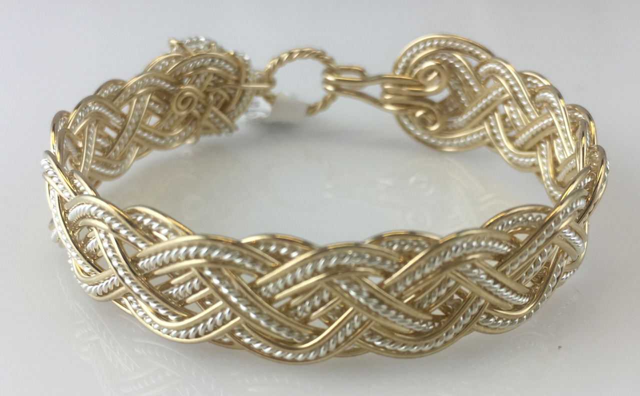 Celtic Tapestry Weave Bracelet in gold fill and sterling silverby Varsha Titus