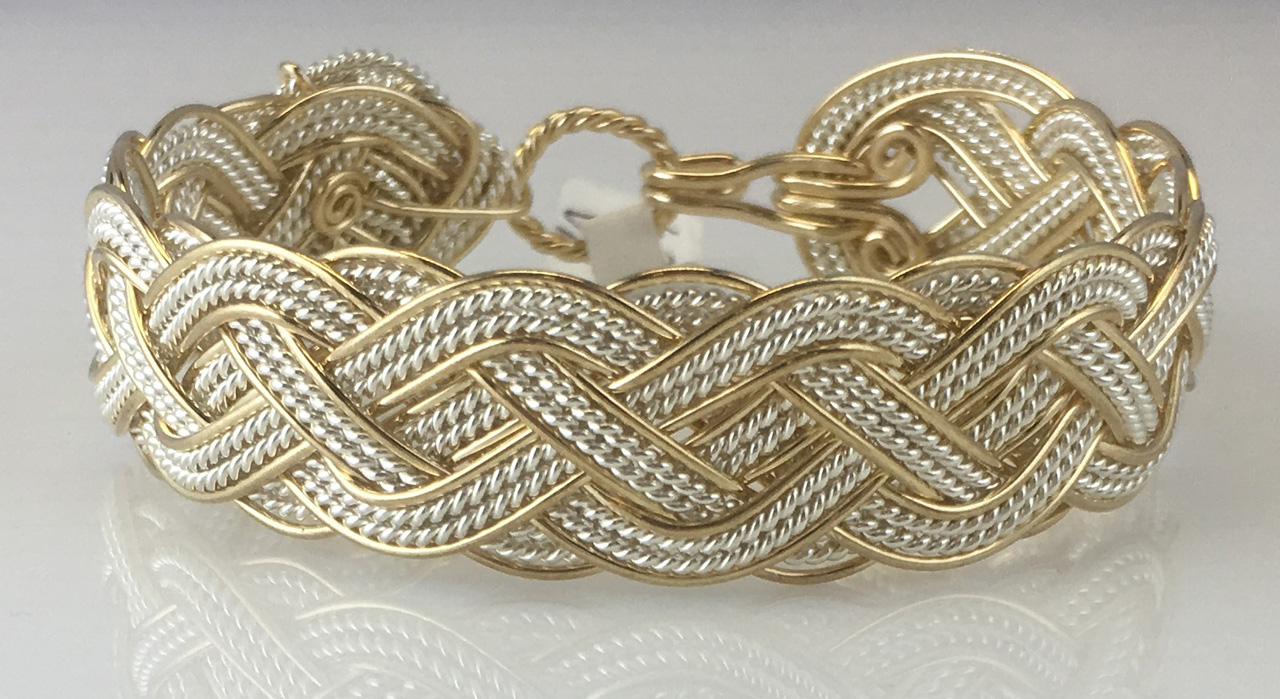 Celtic Grande Lace Weave Bracelet in gold fill and sterling silverby Varsha Titus
