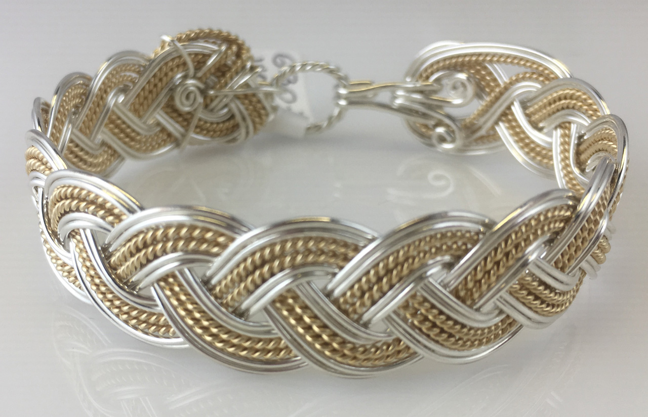 Turks Head Weave Bracelet in sterling silver and gold fillby Varsha Titus