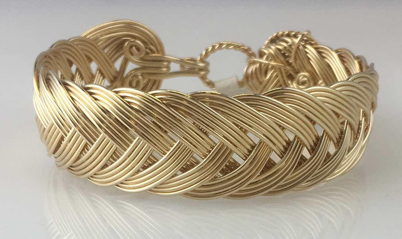 French Classic Weave Bracelet in gold fill by Varsha Titus