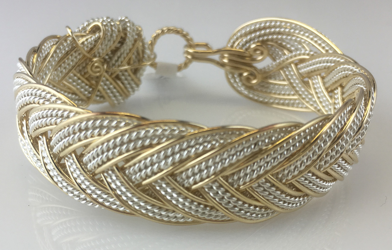 French Grande Lace Weave Bracelet in gold fill and sterling silverby Varsha Titus