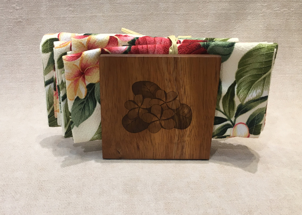 Koa Wood Napkin Holder with plumeria design