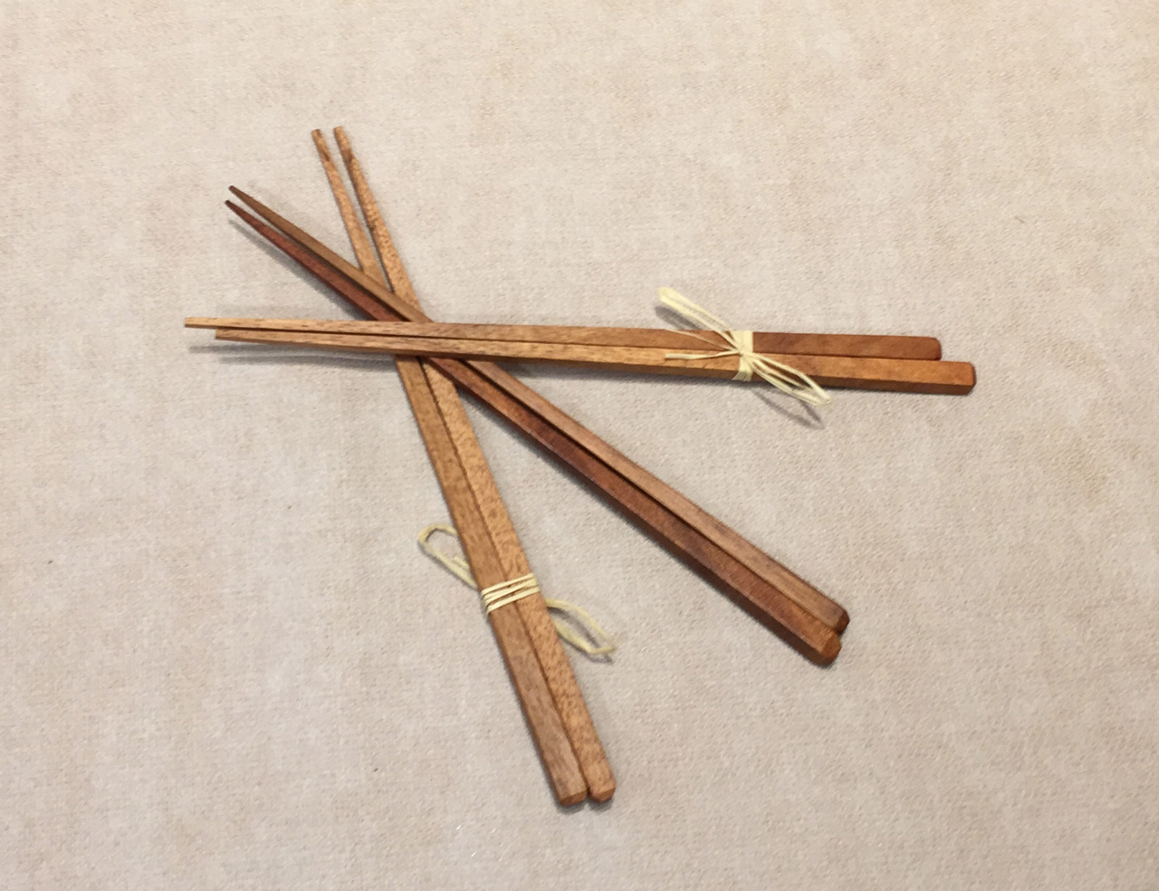 Three wood chopsticks
