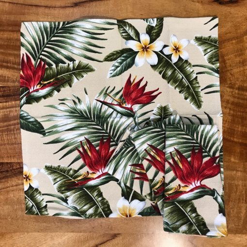 Red Bird of Paradise Set of 4 Napkins by Bonnie Warren - B-N