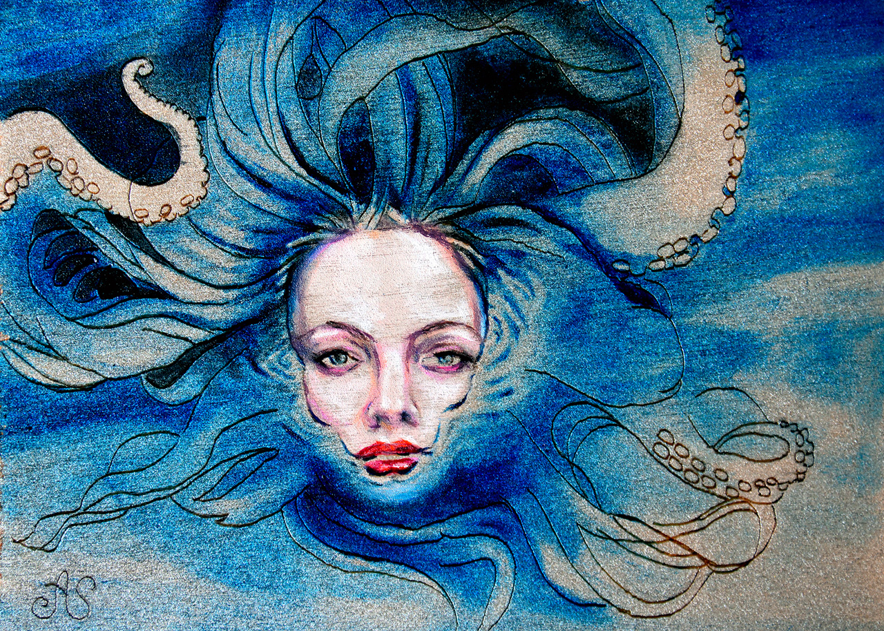 Pyograph of medusa partially submerged in water