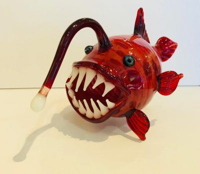Red Large Glass Lantern Fish by Chris Upp angle view
