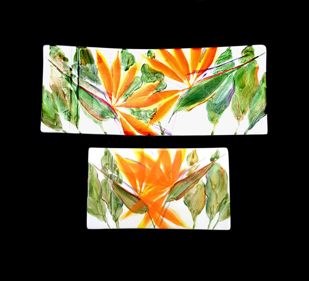 two rectangular ceramic platters for sushi painted bird of paradise flowers