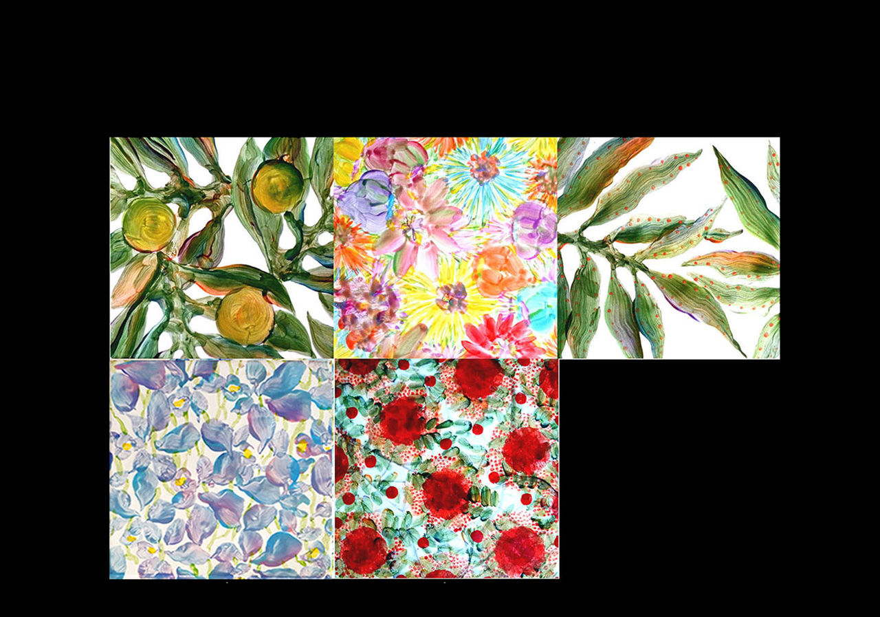 Five tiles or trivets with paintings of various Hawaiian plants
