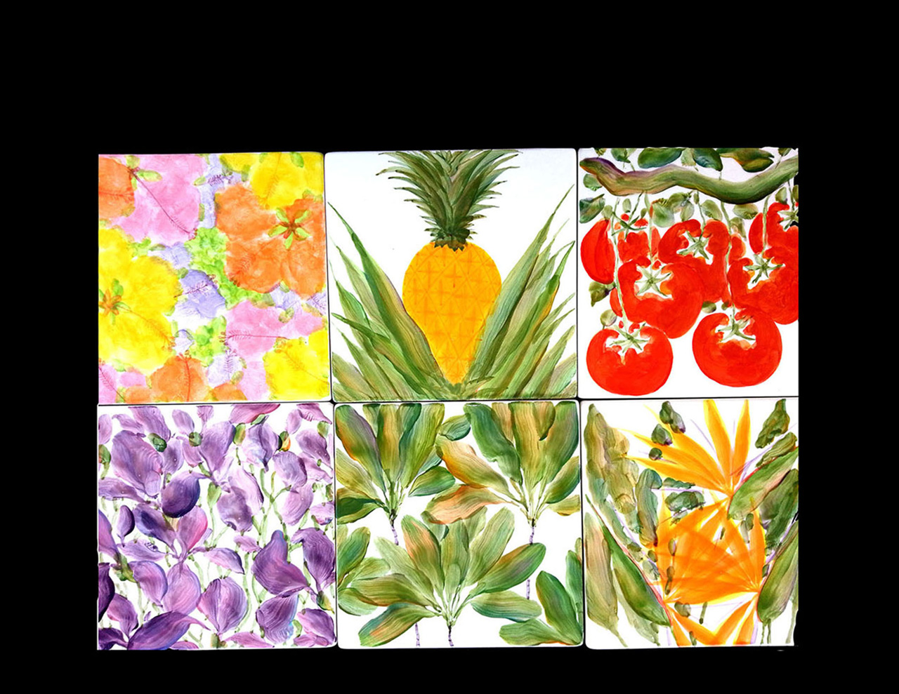 Six tiles or trivets with paintings of various Hawaiian plants