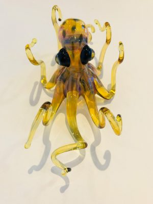 Medium Yellow Glass Octopus by Chris Upp top view