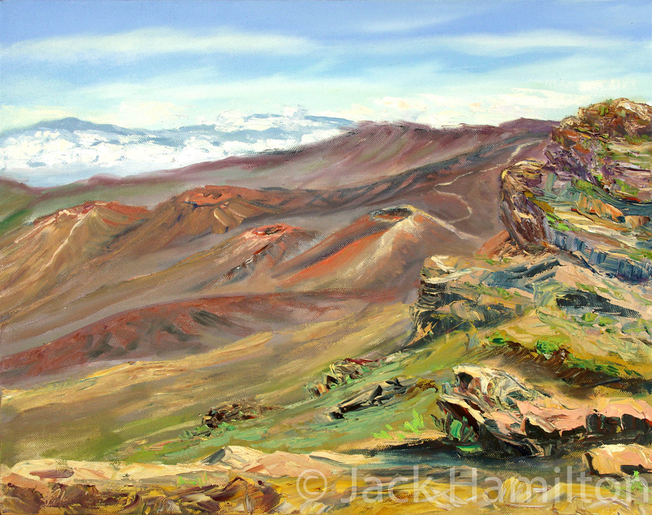 Oil Painting of Cinder Cones At Haleakala Crater by Jack Hamilton