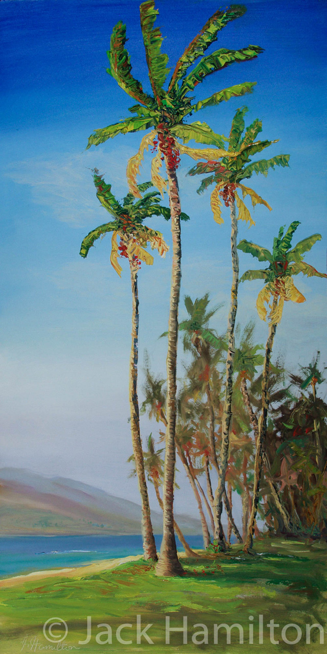 Oil Painting of Kihei Palms by Jack Hamilton