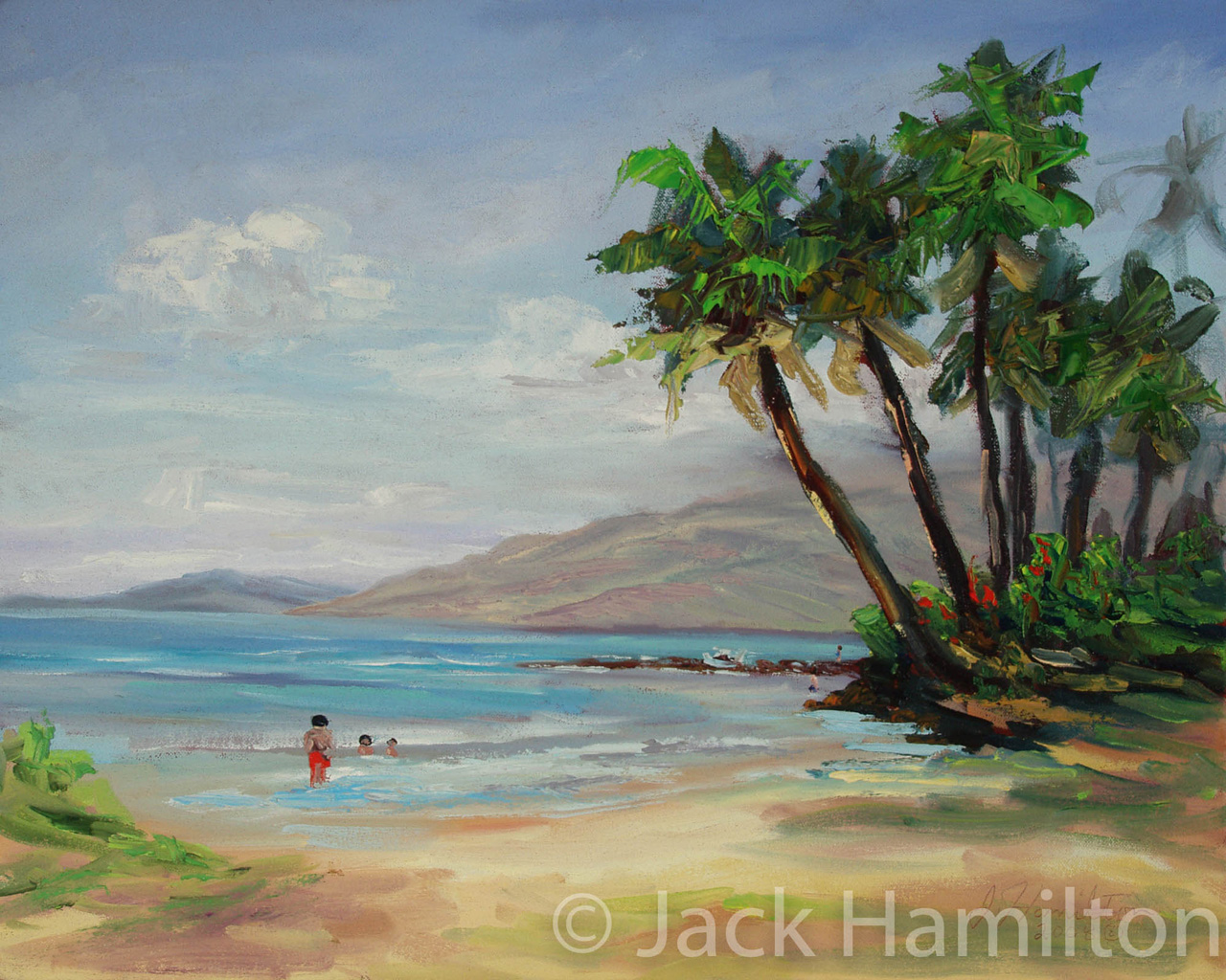 Kelepolepo Beach With Swimmers by Jack Hamilton oil on canvas