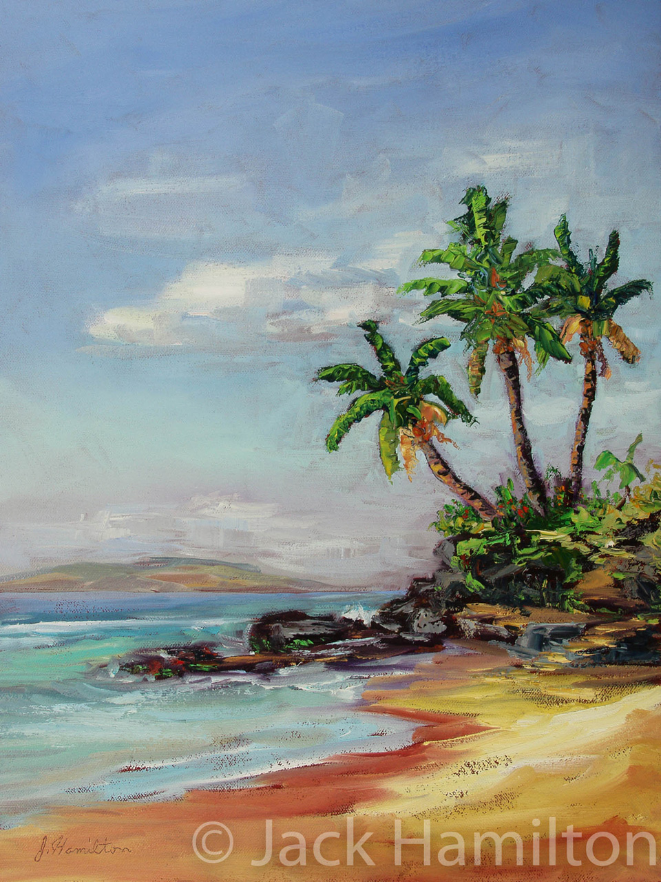 Three Palms With Distant Lanai by Jack Hamilton Oil on Canvas