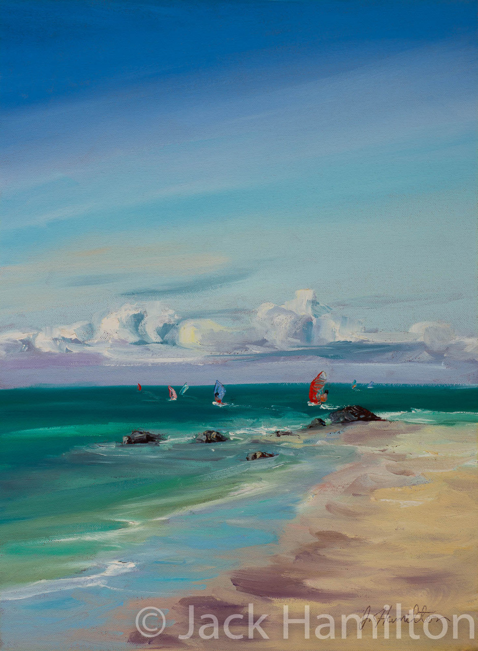 Beautiful Kanaha Beach by Jack Hamilton oil on canvas