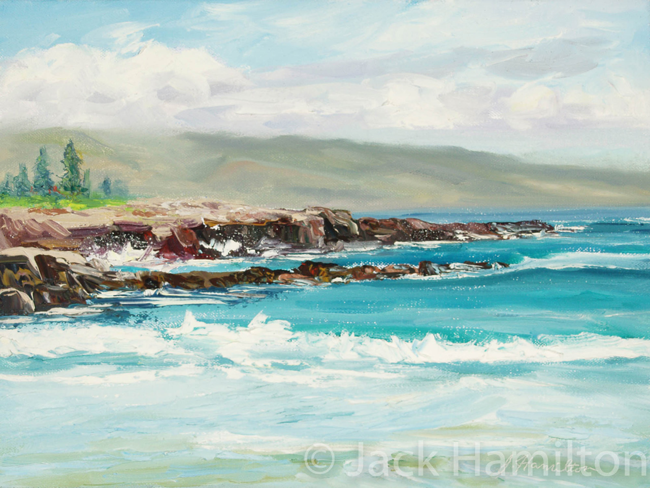 Rocky Point At Fleming Beach by Jack Hamilton oil on canvas