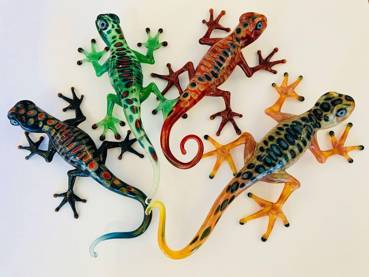 Assorted Handblown Glass Geckos by Chris Upp - Examples