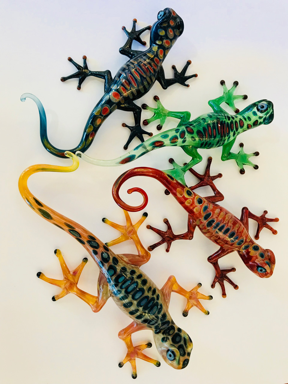 Glass Gecko Group of four by Chris Upp in assorted colors