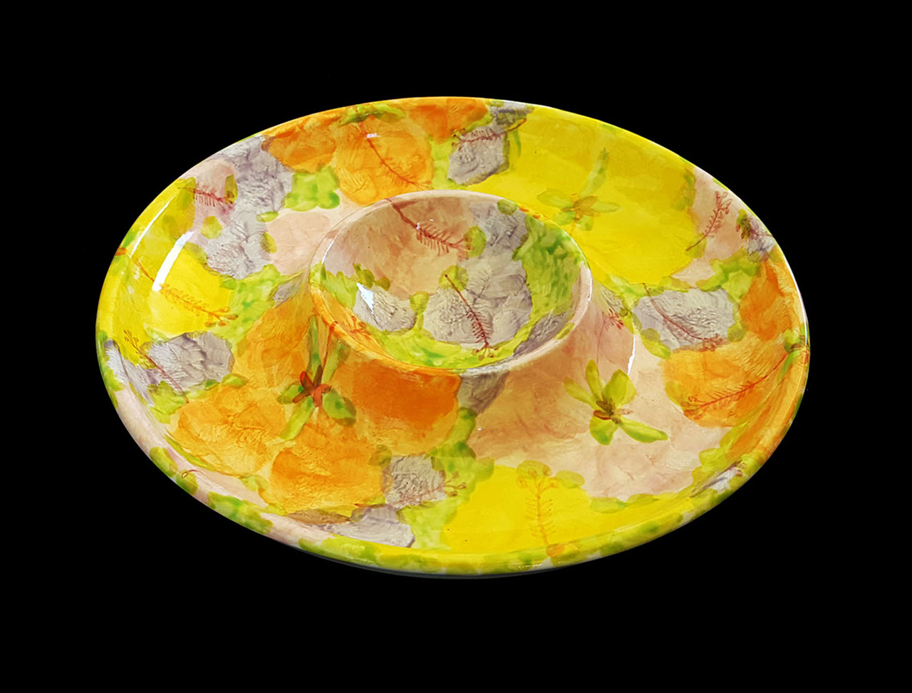 ceramic dish with a round center bowl for chips and dip painted hibiscus flowers