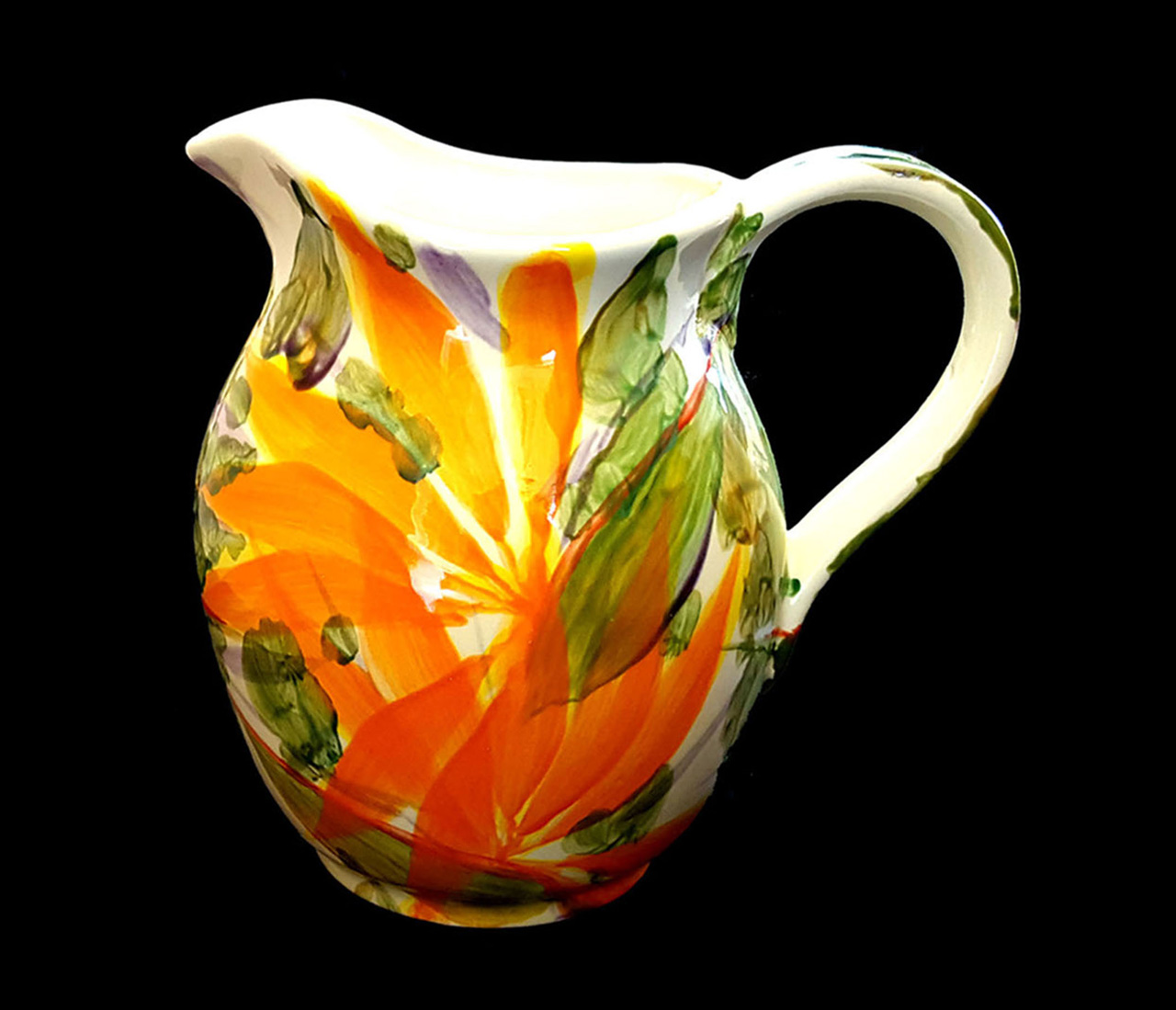 ceramic water pitcher hand painted bird of paradise flowers