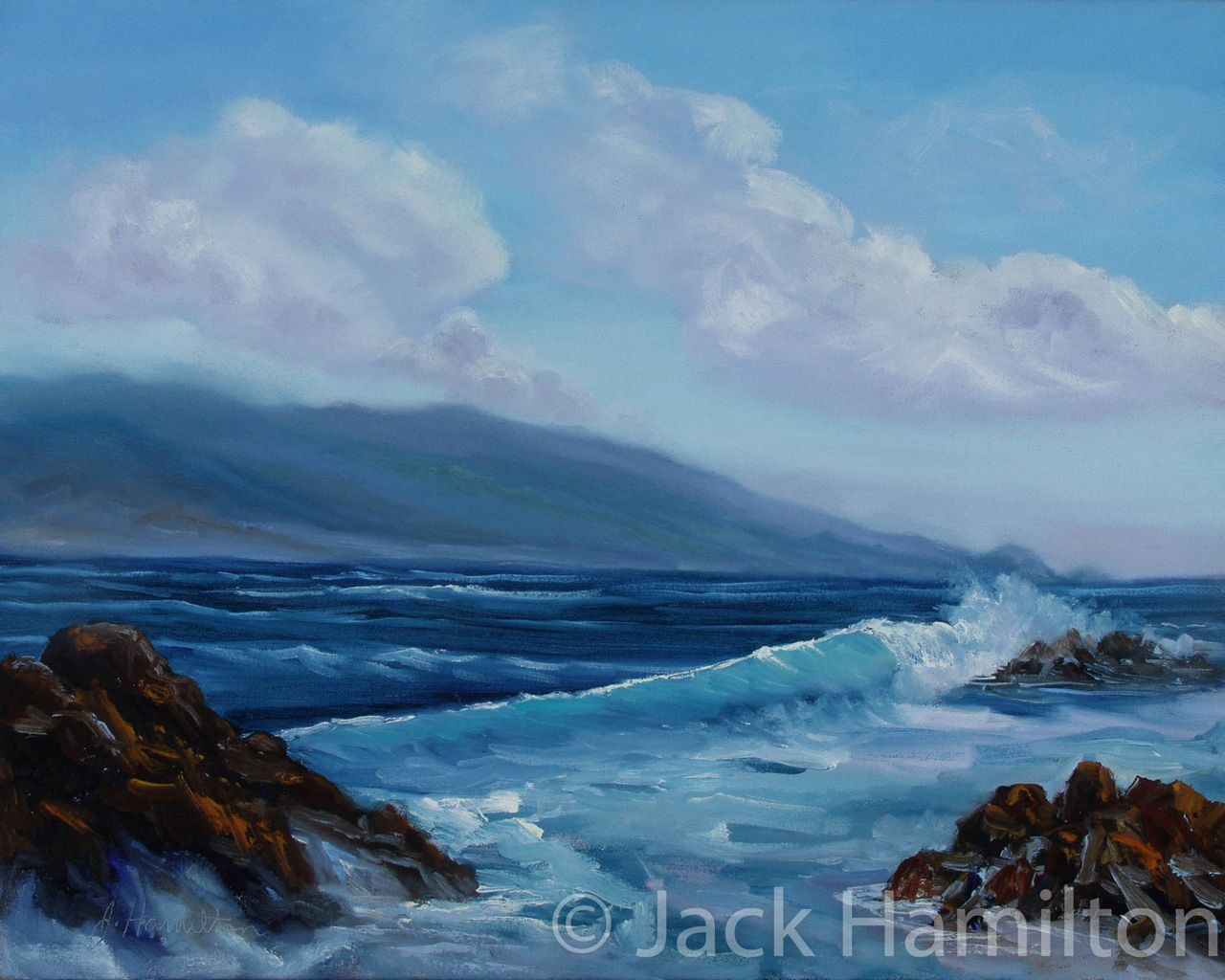 Maui Bursting Wave by Jack Hamilton oil on canvas