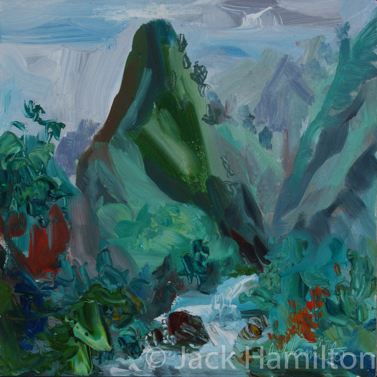 Iao Needle With Stream by Jack Hamilton oil in canvas